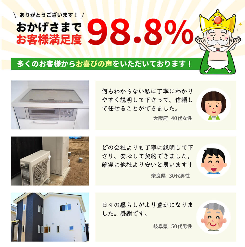 おかげさまでお客様満足度98.8% 大阪府40代女性