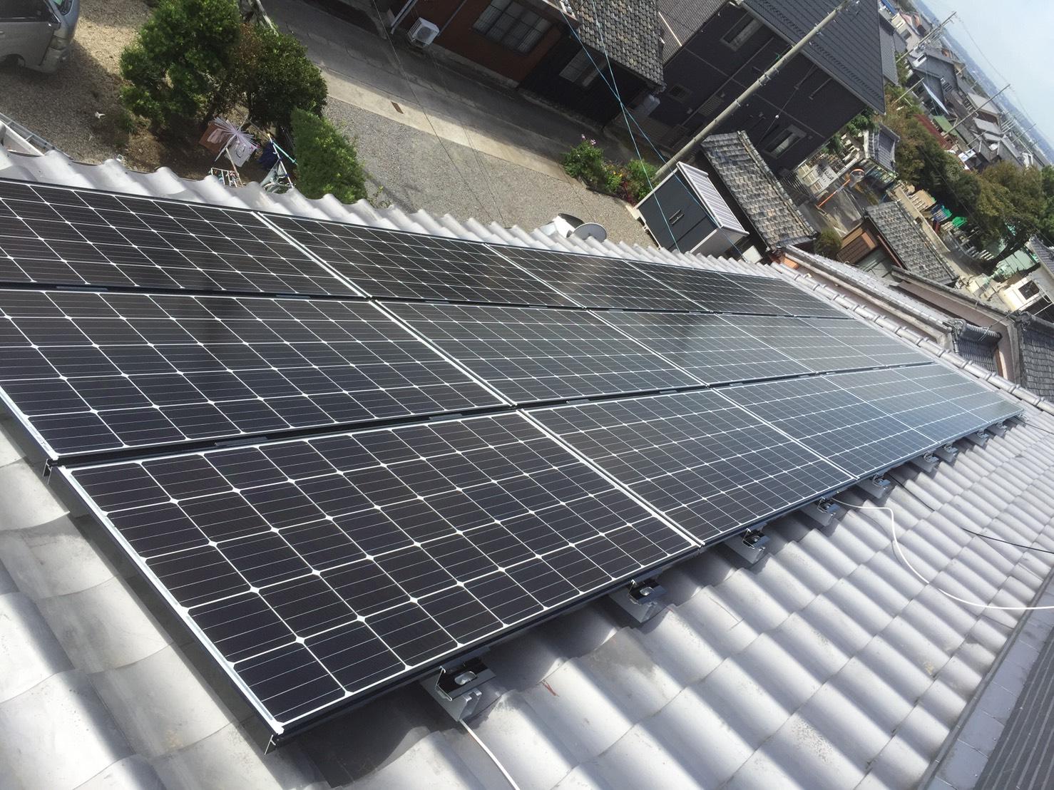京都府三菱太陽光パネル 15枚PV-MA2250M施工後の写真