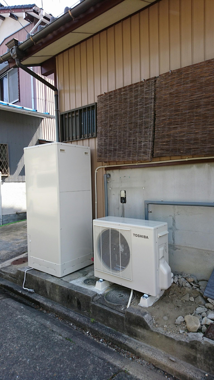 愛知県東芝エコキュートHWH-B375施工後の写真