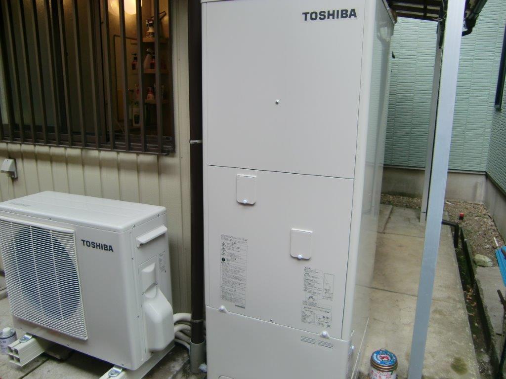 奈良県東芝エコキュートHWH-B374HA Panasonic IHクッキングヒーターKZ-V573S施工後の写真