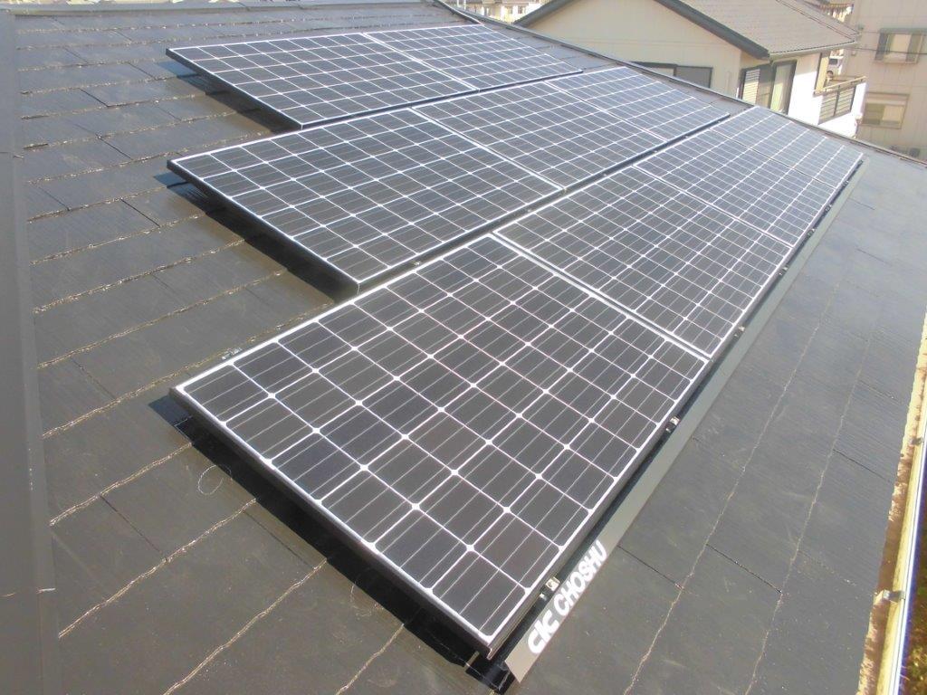 奈良県長州太陽光パネル 9枚CS-260B51施工後の写真