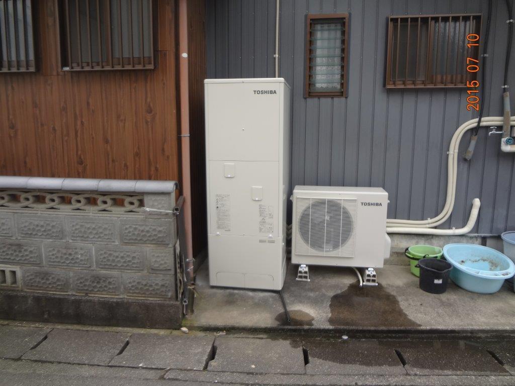 三重県東芝エコキュートHWH−B374施工後の写真