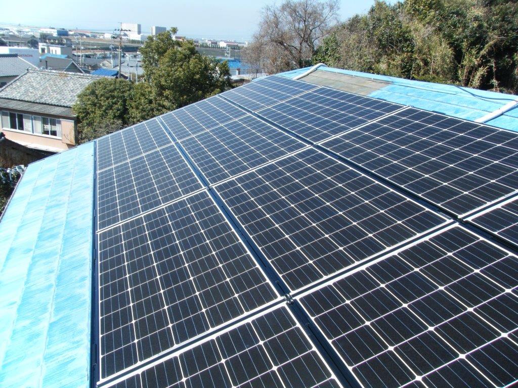 三重県三菱太陽光パネル 14枚PV-MA2250M施工後の写真