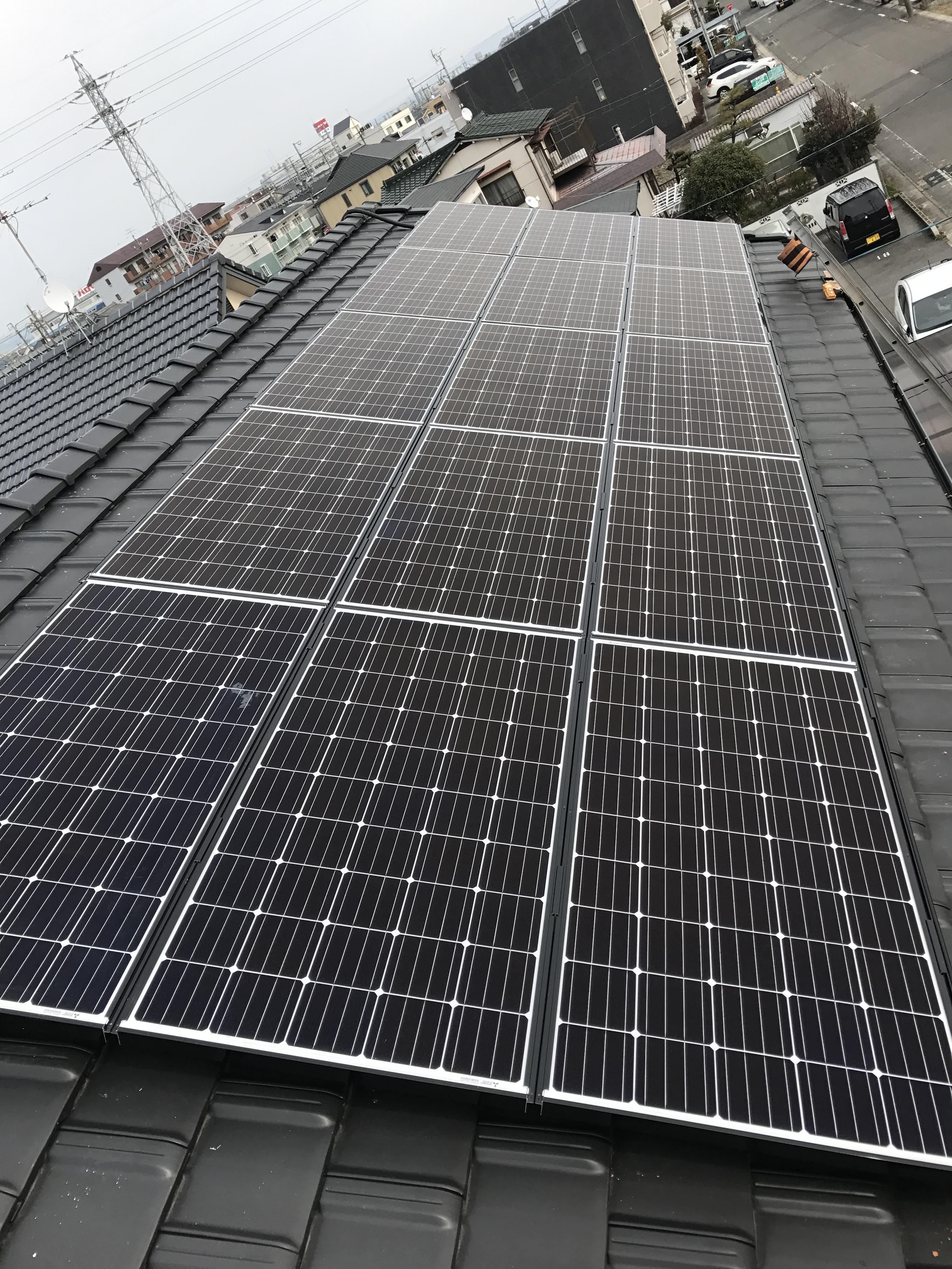 愛知県三菱太陽光パネル 15枚PV-MA2250M施工後の写真