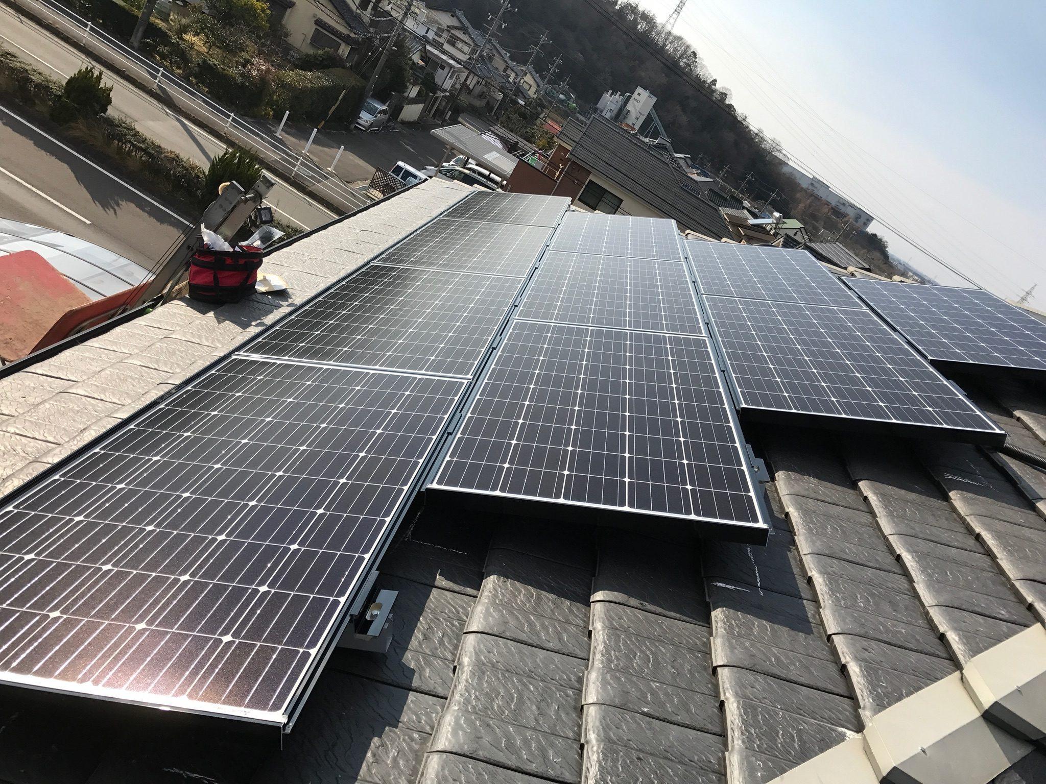愛知県三菱太陽光パネル 19枚PV-MA2250M施工後の写真