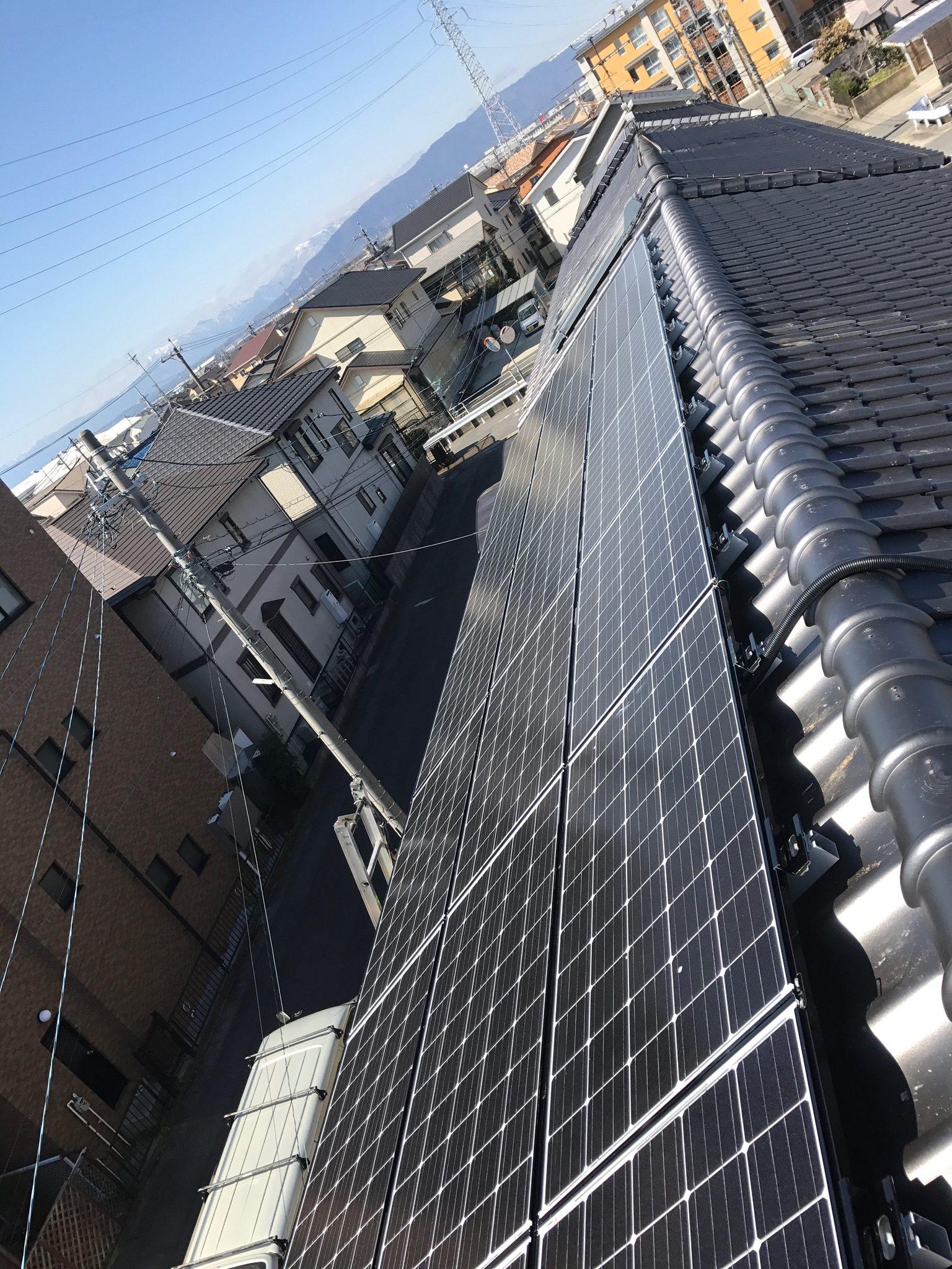 大阪府三菱太陽光パネル 21枚PV-MA2250M施工後の写真