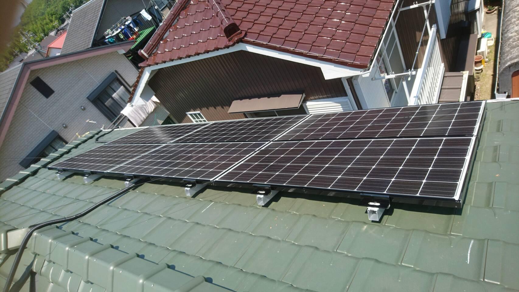 三重県三菱太陽光パネル 10枚PV-MA2250M施工後の写真