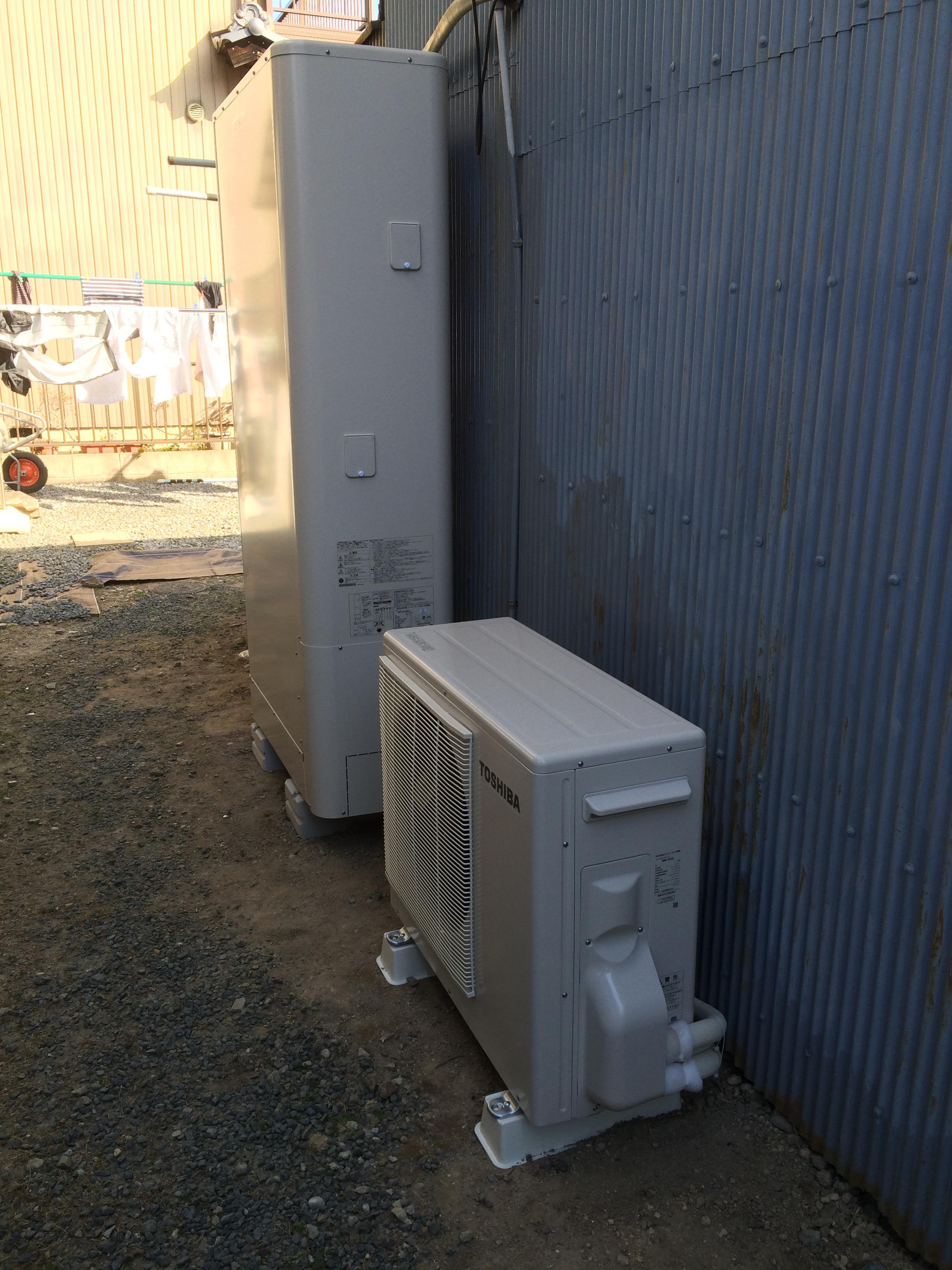 愛知県東芝エコキュート(薄型)HWH-B375HWV施工後の写真