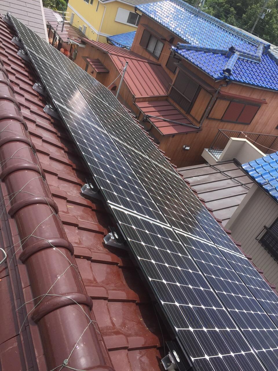 愛知県三菱太陽光パネル 12枚PV-MA2180K施工後の写真