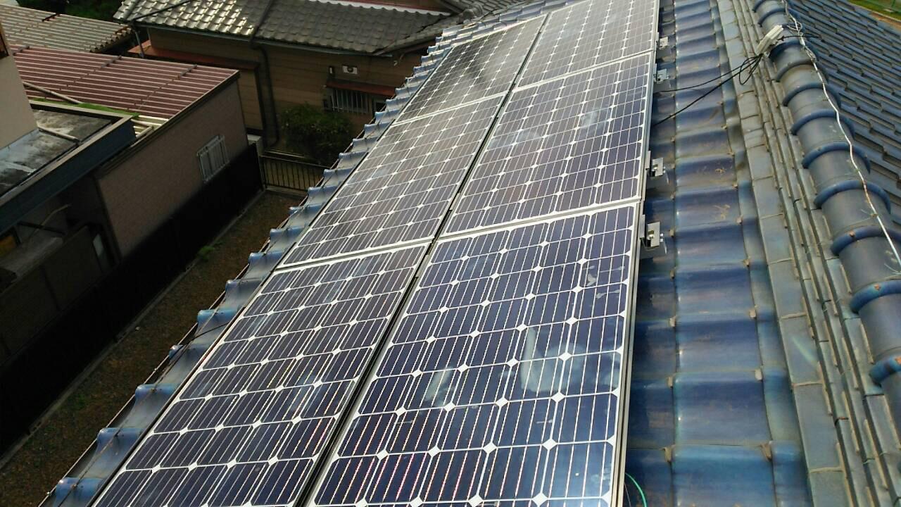 和歌山県三菱太陽光パネル 6枚PV-MA2180K 施工後の写真
