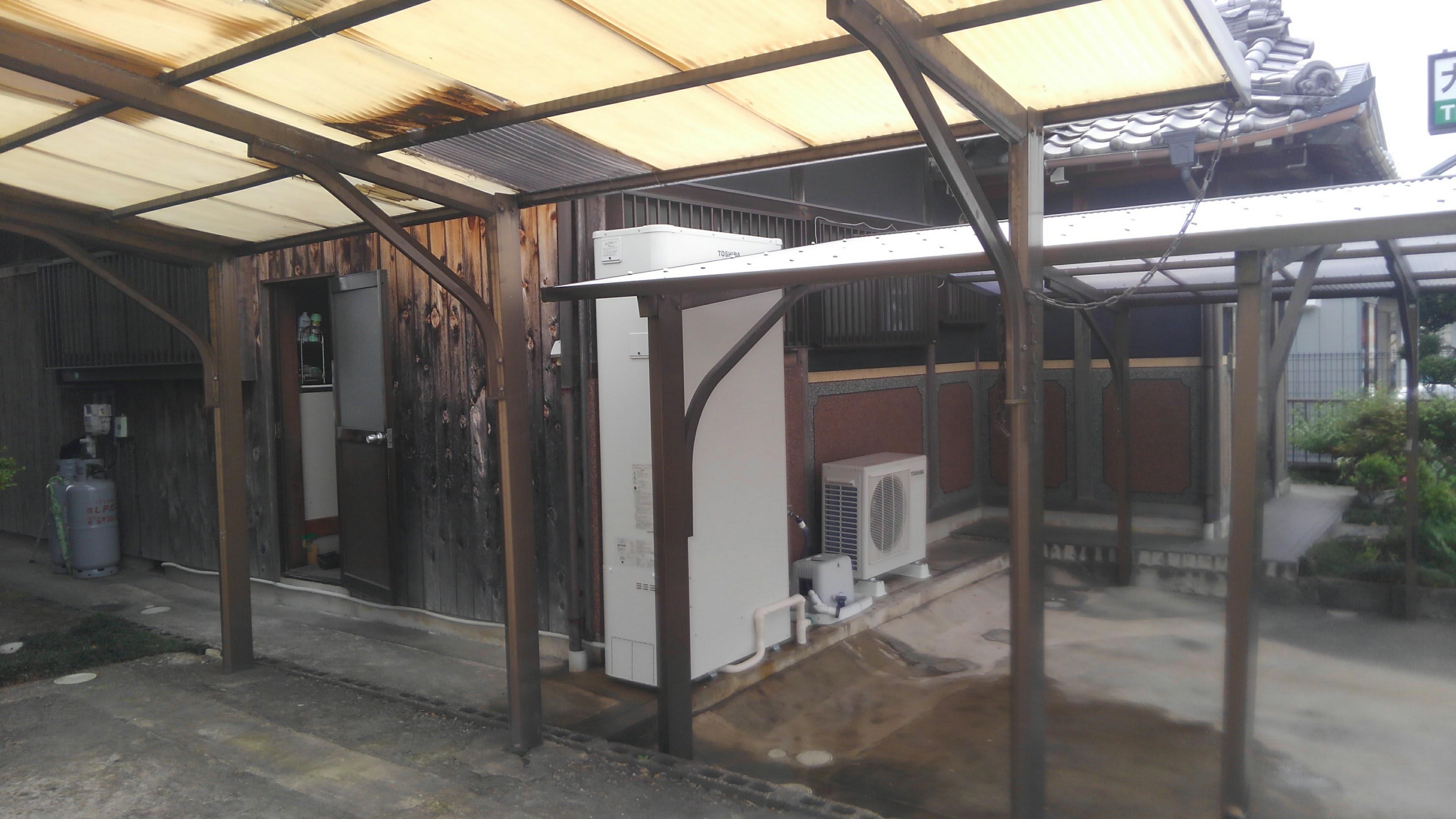 奈良県東芝エコキュートHWH-B375HW三菱IHクッキングヒーターCS-G32MS施工後の写真