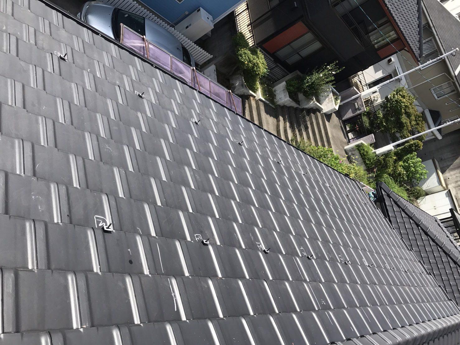 滋賀県三菱太陽光パネル 15枚PV-MA2250M施工前の写真
