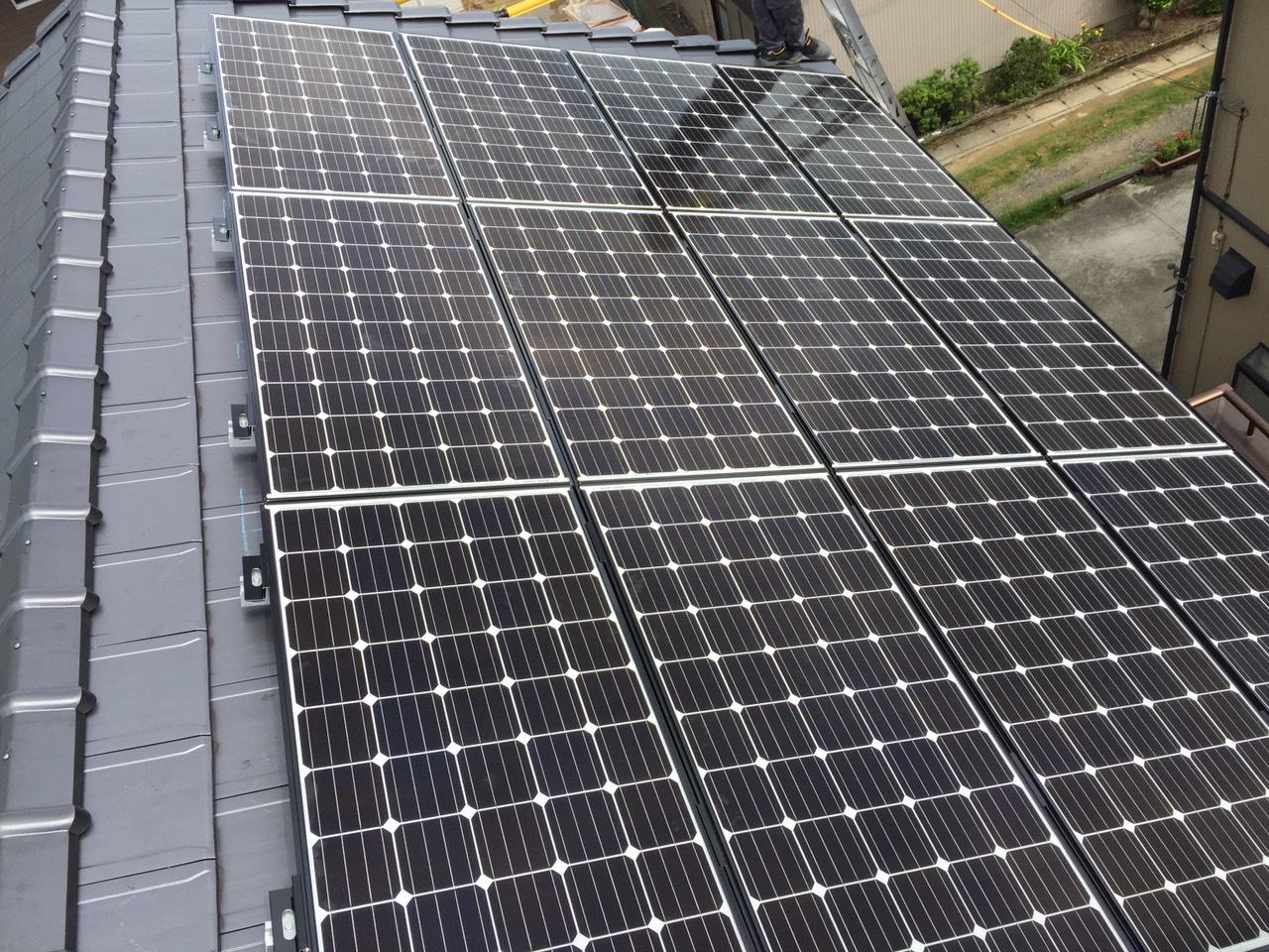 大阪府三菱太陽光パネル 22枚PV-MA2180K施工後の写真