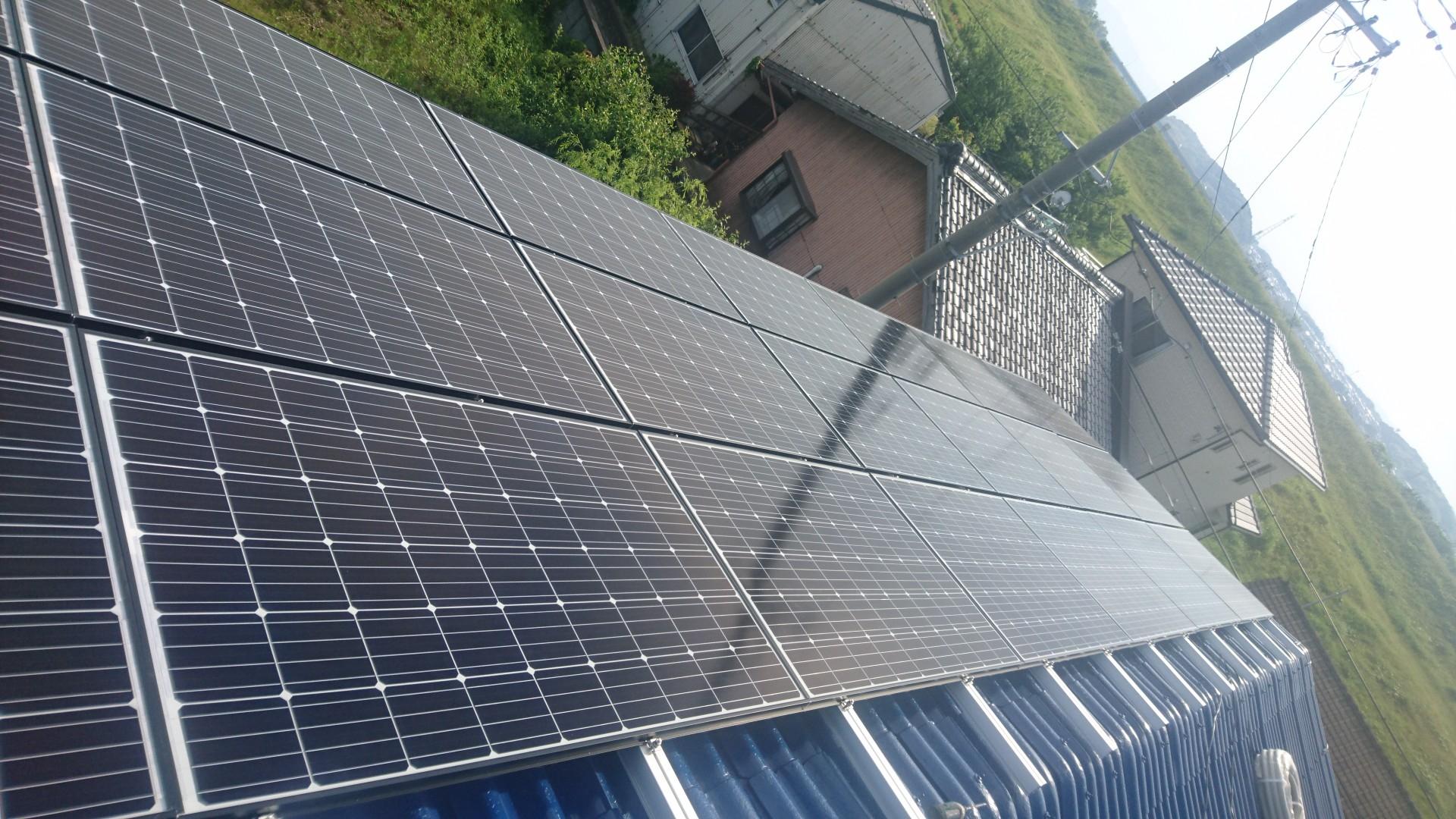 大阪府長州太陽光CS-274B61×21枚施工後の写真