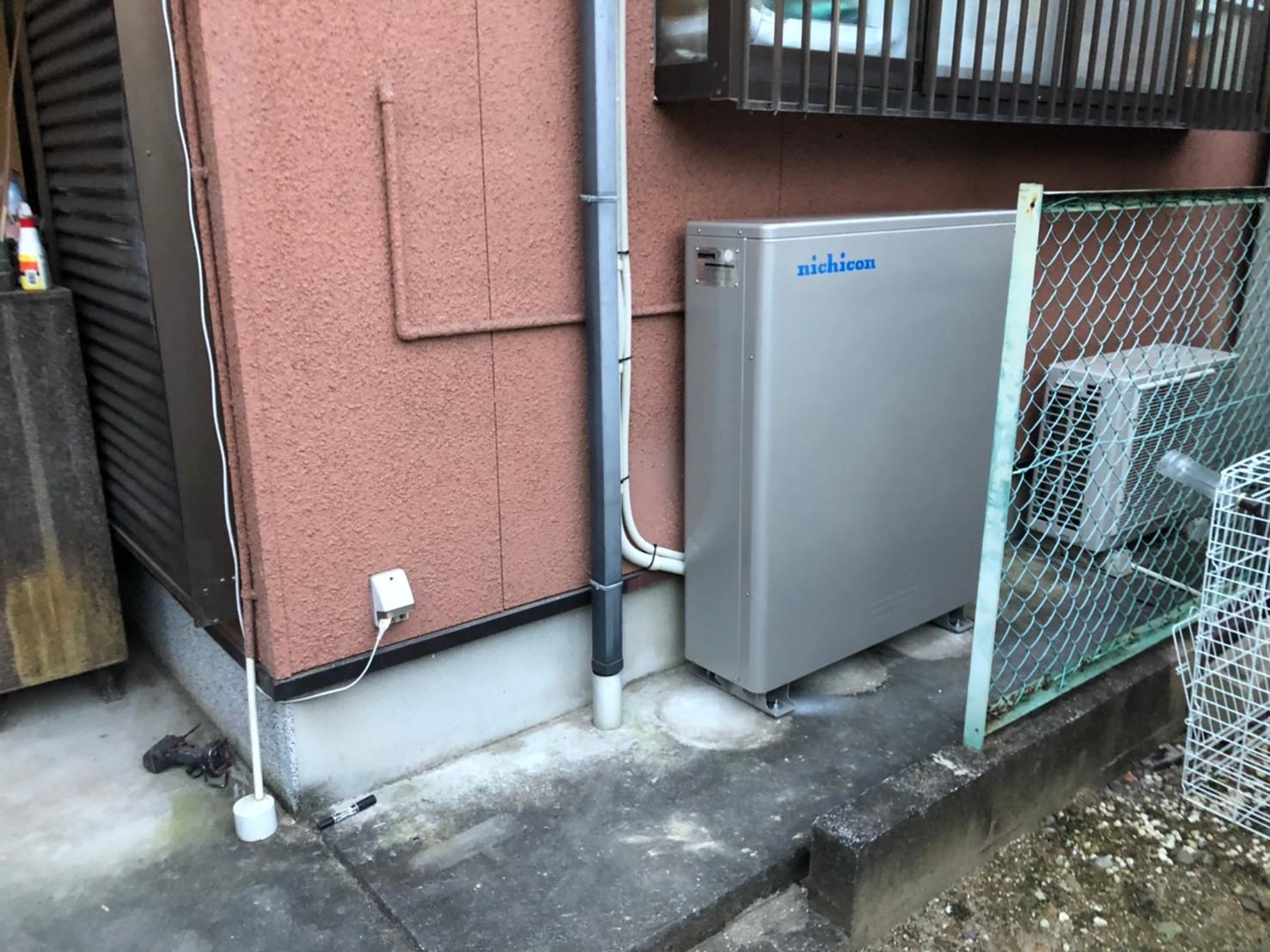 兵庫県nichicon蓄電池ESS-U2L1施工後の写真