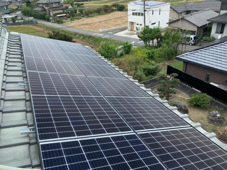 奈良県QcellsQ.PEAK DUO G6 10枚施工後の写真