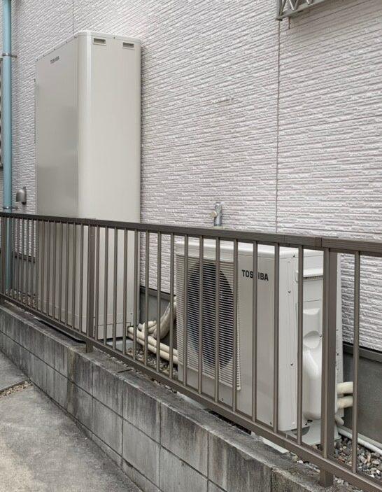 奈良県東芝エコキュートHWH-B376HW三菱バスカラットV-141BZ施工後の写真