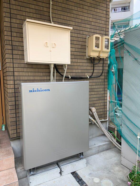 愛知県ニチコン蓄電池ESS-U4M1施工後の写真